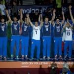 La Nazionale Italiana di pallavolo sul podio